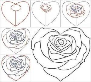 Goede Bloemen tekenen en schilderen, rozen - Zelfkunstmaken.nl ZO-48